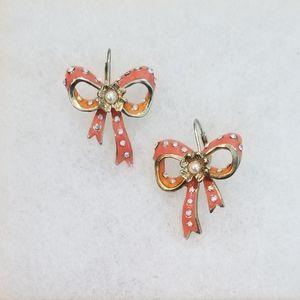 Betsey Johnson Orange & Coral Bow Hook Earrings